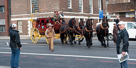 The Wells Fargo stagecoach rolls into London