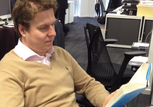Thomas Becket, CIO at Psigma prepares for his book review in Wealth Manager