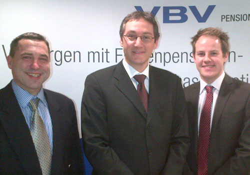 Fabian and Stefan greet Harald Amon from VBV in Vienna