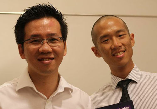 Nick rubs shoulders with Jason Yeo of ABN AMRO in Singapore