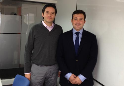 Alejandro meets Andres Lozano from Colfondos in Bogota.