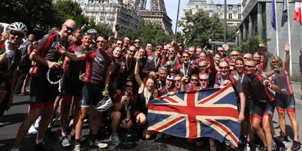 London to Paris riders cross the finishing line