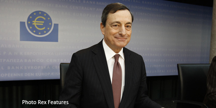 Draghi hints at more money printing for subdued Europe